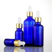הגעה חדשה 5 ml, 10 ml, 15 ml, 20 ml, 30 ml, 50 ml, בקבוקי זכוכית כחולה עם טפטפת 100 ml, בקבוק שמן אתרים ריק צלוחיות זכוכית לבן גומי