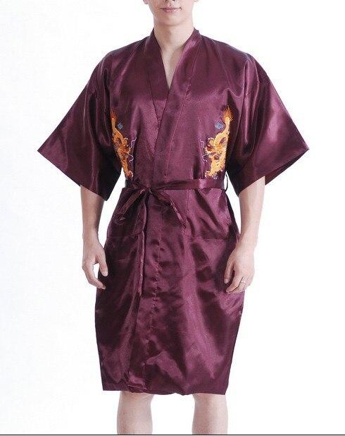 Burgundy Chinese Traditional Men Silk Satin Robe Embroidery Dragon Kimono Bath Gown Nightwear Size S M L XL XXL XXXL MP003