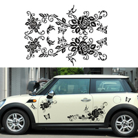 Car Styling Body Car Stickers Black Color Butterflies Love Flower Auto Decorative Sticker For Ford Mini