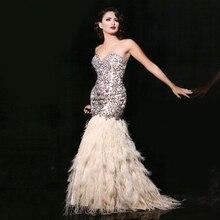 Luxus 2016 Schatz-wulstige Feder Abendkleid lange Kristall Prom Kleider dubai Vestidos De Festa Curto Great Gatsby Kleid