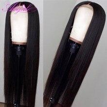 Perruque Lace Frontal Wig 360 brésilienne Remy lisse-Abijale, cheveux naturels, pre-plucked, Baby Hair, pour femmes