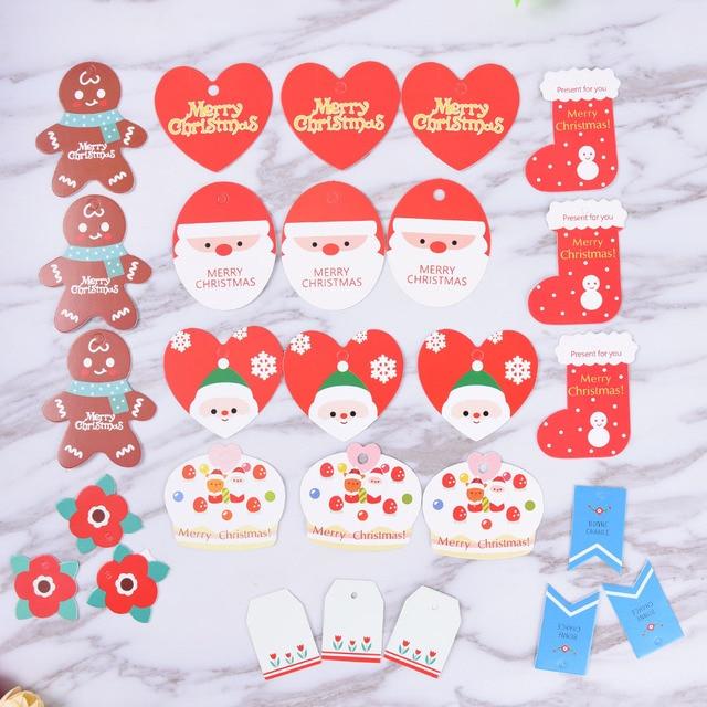 10Pcs DIY Christmas Paper Tags Santa Claus Christmas Socks Flower