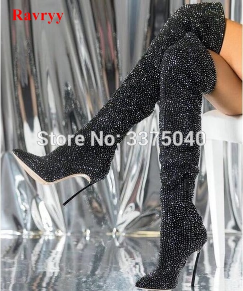 Ravryy Sexy Black Crystal Over The Knee Boot Pointed Toe Thight High Heel Boots Side Zipper Long Boots Woman Rhinestone Boot цены онлайн