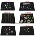 Black Velvet and Leatherette Jewelry Display Tray Jewelry Showing Box Case for Necklace Bracelet Ring Earring Pendant Storage