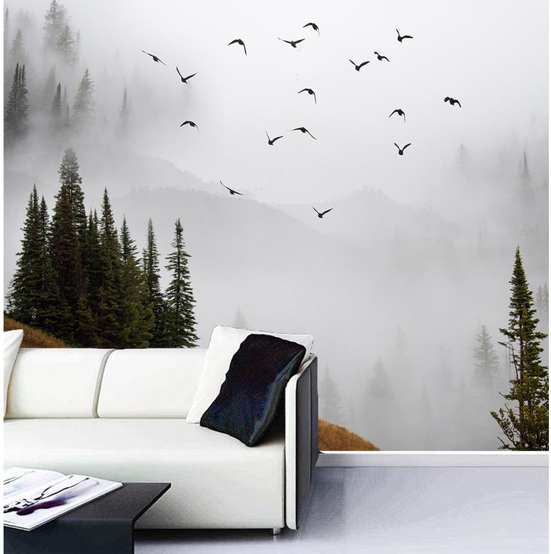 3d wallpaper custom 3d photo wallpaper misty mountains for Wallpaper for home wall decoration