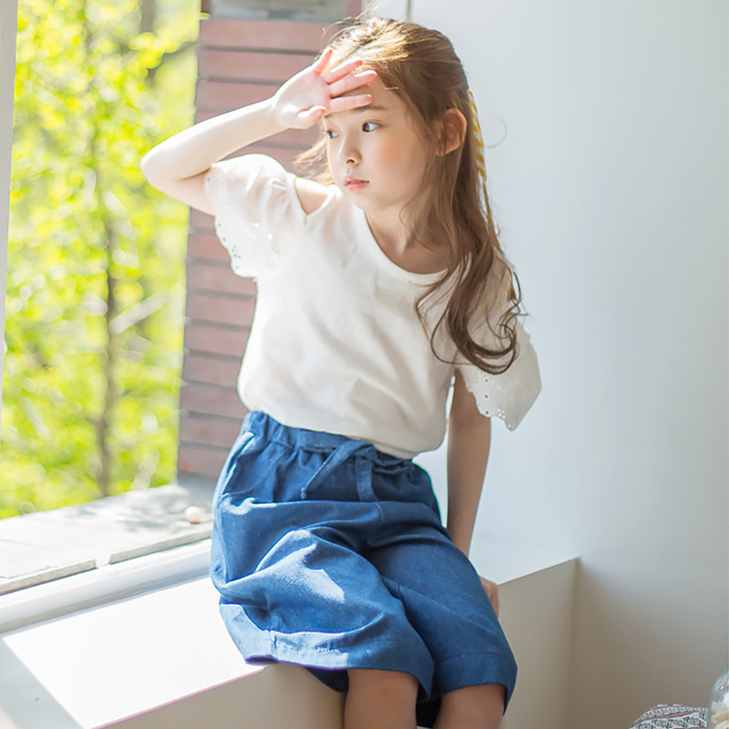 Children Clothing Suit 2017 Summer Embroidery Burst Kids Girls Cotton Shoulder T-shirt + Wide Leg Shorts Pants Two Piece Sets