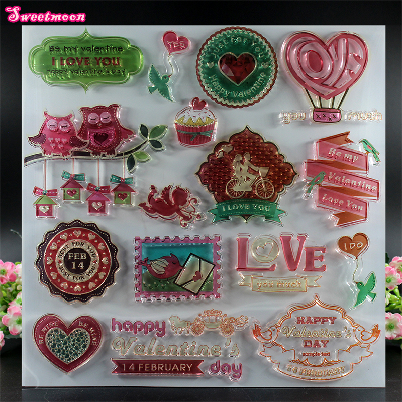 Sweet Valentine's Day Scrapbook Clear Stamp photo cards account rubber stamp  Embossing Folder card Stamp цена