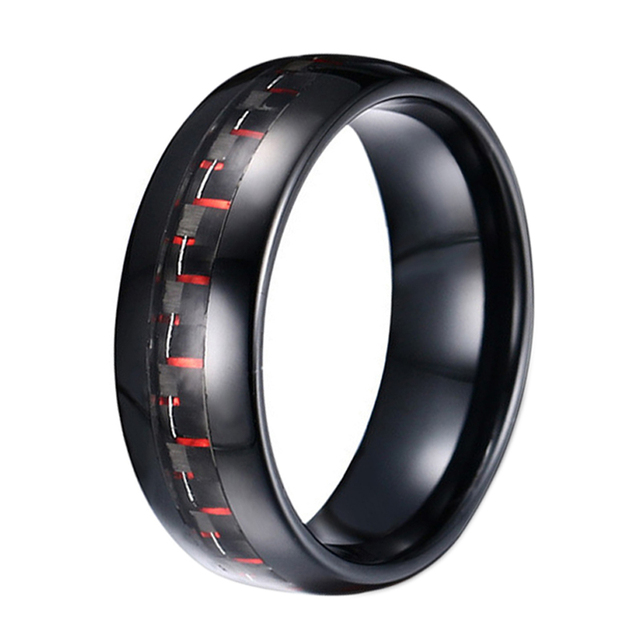 Black Carbon Fiber Inlay Tungsten Carbide Band Unique Mens Wedding Rings Jewelry Engagement Marriage Male