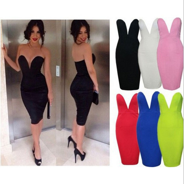 Low-Cut Strapless Mini Dress