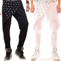 Мода Панк-стиль Плюс Размер мужской Гарем Брюки Черный Белый Ночной Клуб Певица Заклепки Брюки Сценическое Шоу Производительности Днища