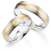 2014 Одежда высшего качества ручной работы, золочение декор белый цвет золотистый titanium обручальные кольца пар пара ювелирные изделия