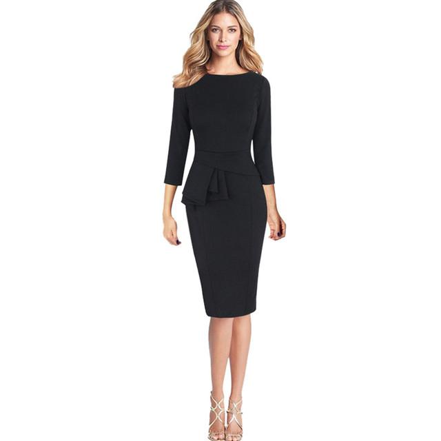 2017 New Fashion Women Winter Elegant Frill Peplum 3/4 Gown Sleeve Wear to Work Office Business Party Sheath Dress#30