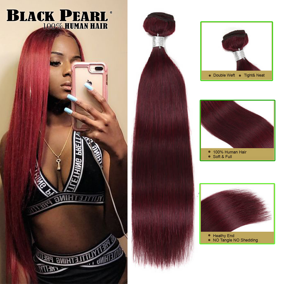 Black Pearl Pre-Colored Remy Straight Human Hair Bundles Wine Red Brazilian Hair Weave Bundles  Human Hair Extensions 100g 99J