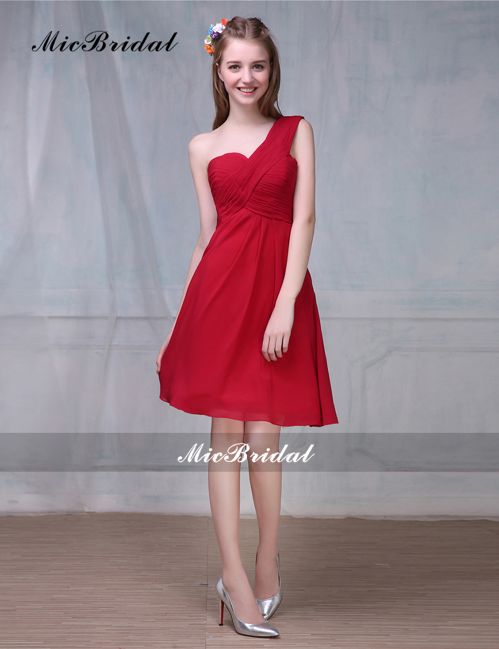 Micbridal 2016 new arrival one shoulder junior bridesmaid dress micbridal 2016 new arrival one shoulder junior bridesmaid dress red bruidsmeisjes jurk mz 021 short dresses for wedding party in bridesmaid dresses from ombrellifo Choice Image