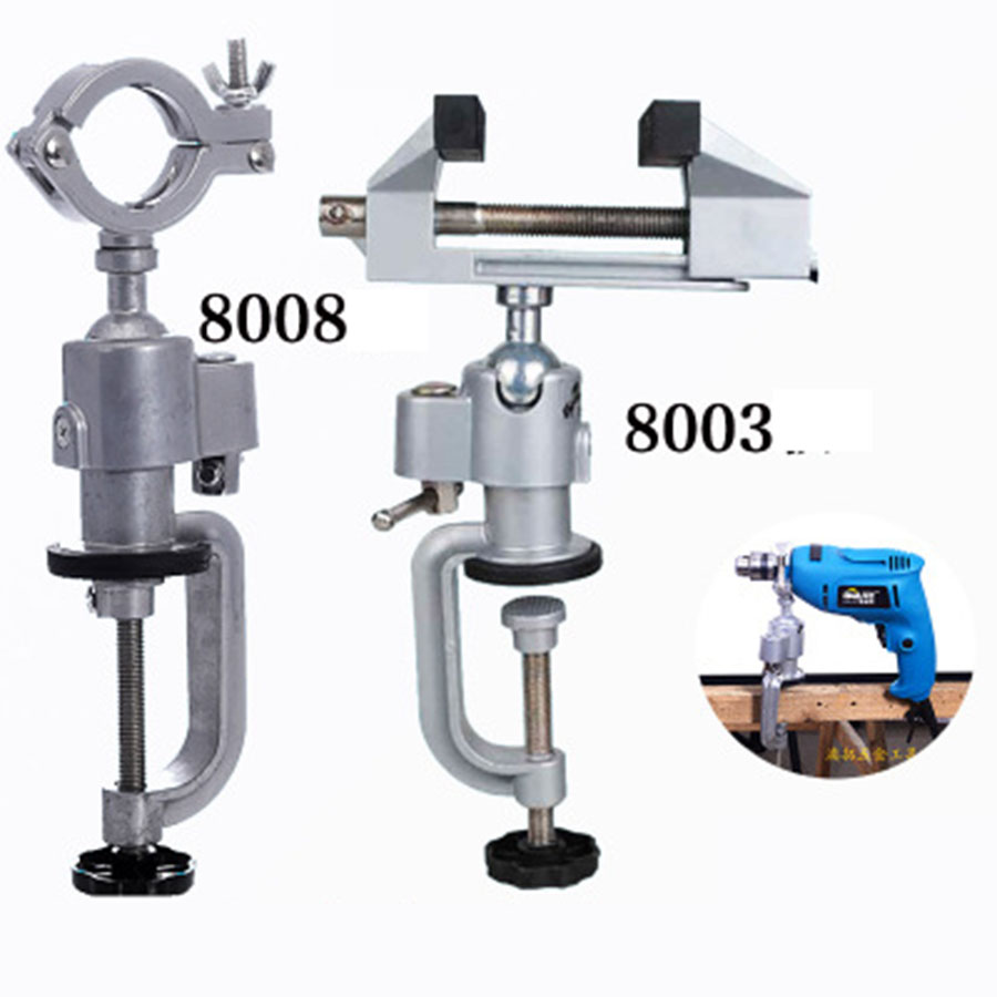 VOTO 360 Degree Aluminum Pliers Universal Rotating Vise Electric Drill Wooden Table Vise Aluminum Alloy Drill Table Vise 8003