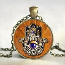 Hamsa Hand Pendant, Hand Of Fatima necklace, Hamsa hand jewelry,  Art Glass Pendant, Hamsa necklace, kabbalah necklace HZ1