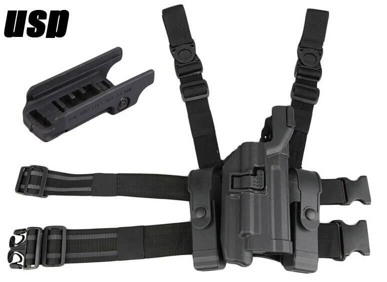 LV3 USP Tactical Pistol Holster SET Drop Leg Gun Holder with Double Magazine Pouch Compact RH