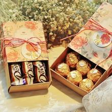 20pcs Retro Kraft Paper Drawer Candy Box Chocolate Gift Package Box for Birthday Wedding Party Favor Decoration 20pcs lot new design drawer paper candy chocolate boxes baby shower gift packaging box birthday wedding party favor box