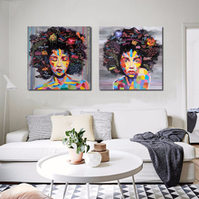 New Graffiti Street Wall Art Abstract Modern African Women Portrait Canvas Painting On Prints For Living Room No frame(China)