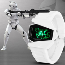 New Fashion Star Wars Men Watch Male LED Digital Future Casual Stopwatch Rubber Watchband Wristwatch Relogio Masculino PL154