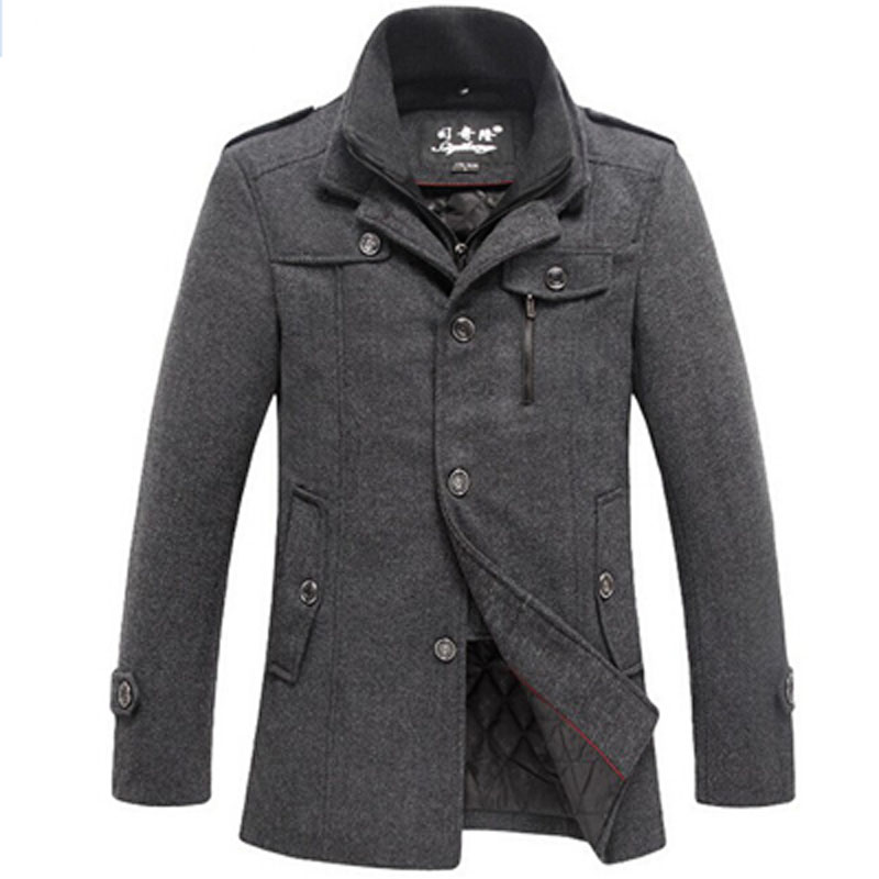 Winter Mens Thick Coats Casual Woo Jacket Windproof Breathable Warm Coat Woolen Jackets