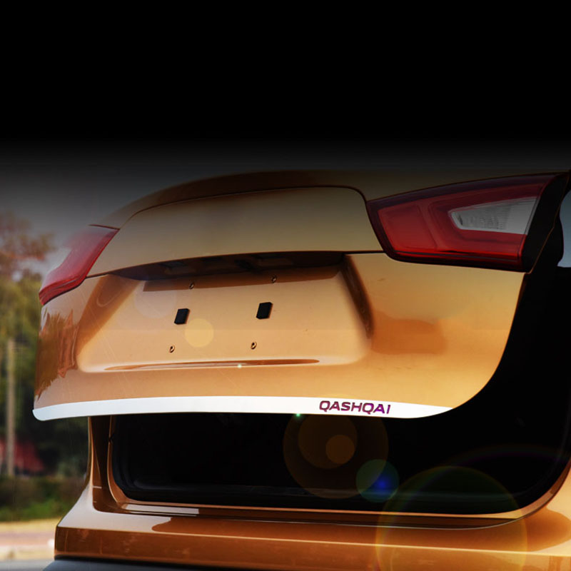 Für Nissan QASHQAI J11 Edelstahl Heckklappe Trunk Deckel Abdeckung Trim 2016-18 Auto Zubehör Styling Rot/ blau/Silber LOGO
