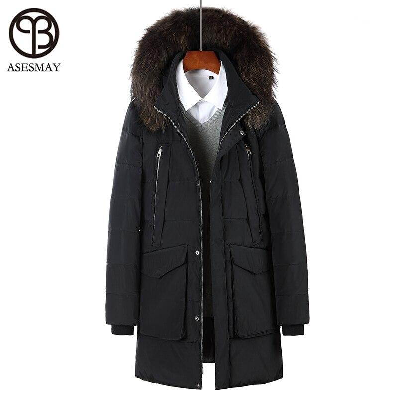 Asesmay 2017 Brand Men Winter Jacket White Duck Down Parka With Hood Real Fur Winter Down Coat Wellensteyn Jackets Warm Outwear