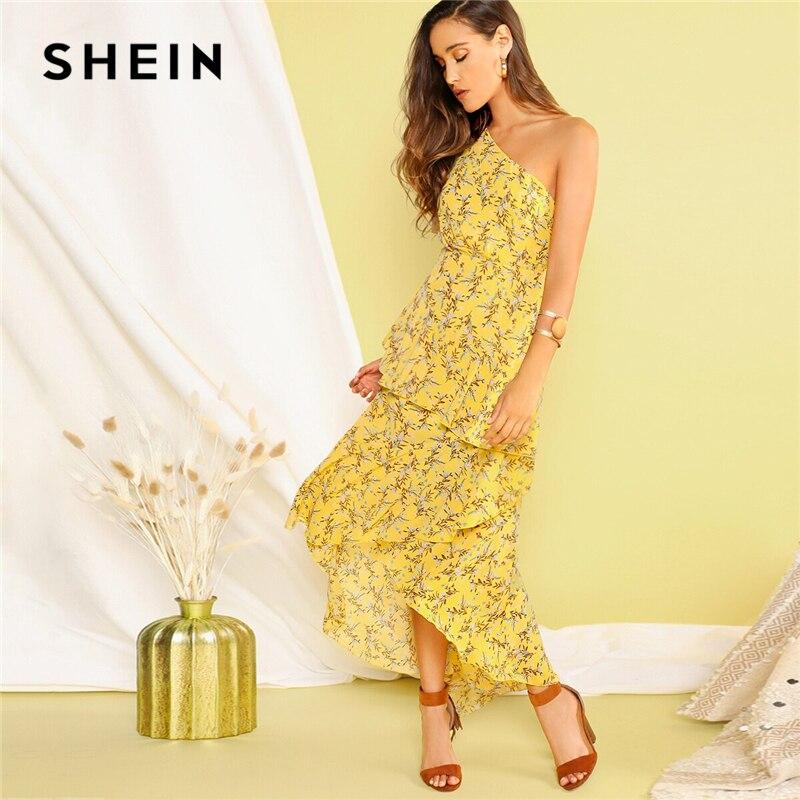 Шеин Boho желтый одно плечо слоистых Асимметричные оборки подол платья для женщин Fit and Flare элегантные летние длинные платья