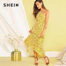 שיין Boho צהוב אחת כתף שכבות סימטרי לפרוע מכפלת שמלת נשים Fit ואבוקת אלגנטי קיץ ארוך שמלות