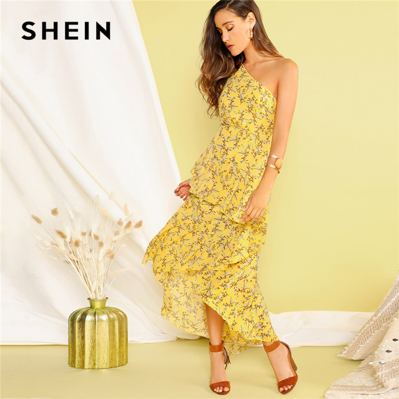 Image 1 - SHEIN Boho Yellow One Shoulder Layered Asymmetrical Ruffle Hem 