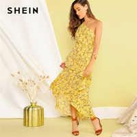 SHEIN Boho Yellow One Shoulder Layered Asymmetrical Ruffle Hem Dress Women Fit and Flare Elegant Summer Long Dresses
