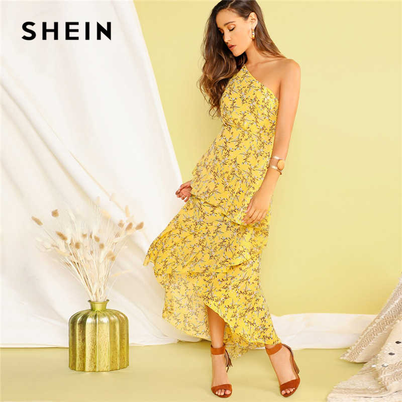 SHEIN Асимметричное Платье С Оборкой И Одним Плечом Женское Желтое Летнее Богемное Платье