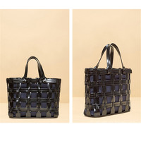 New 2019 custom women bags niche designer popular logo mesh hollow handbag art woven bag handbags