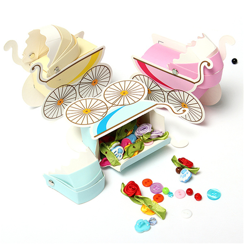 3pcs Lovely Wedding Event Supplies Decoration Accessories Stroller Pink Blue Baby Shower Baptism DIY Candy Favors Gift Bag Box