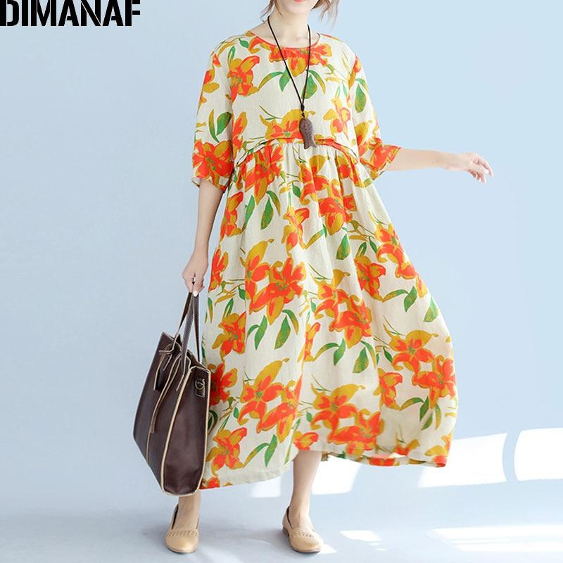 4f9f89a6e3f65 DIMANAF Plus Size Women Dress Floral Print Summer Style Patchwork ...