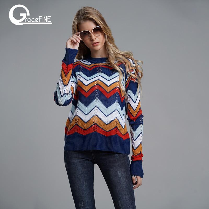 2019 Autumn Winter Rainbow Women Sweaters Pullovers Geometric Color Sweater Hallow Out Streetwear Jumper Long Sleeve Sweater