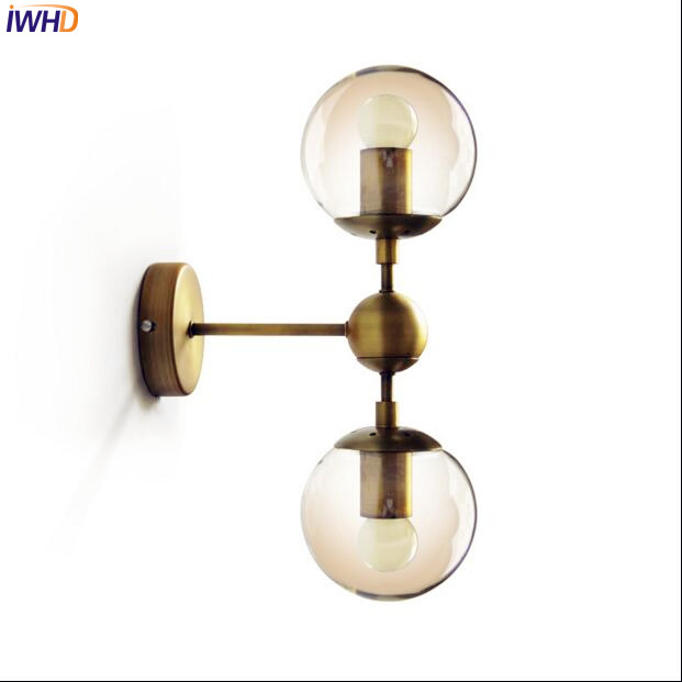 Nordic Glass Ball LED Wall Light Fixtures In The Bathroom Mirror Vintage Wall Lamp Bedroom Wandlampen Sconces Aplik Lamda modern wall lamp glass ball led wall sconces bedside wall light fixture bedroom luminaria home lighting vintage lamp