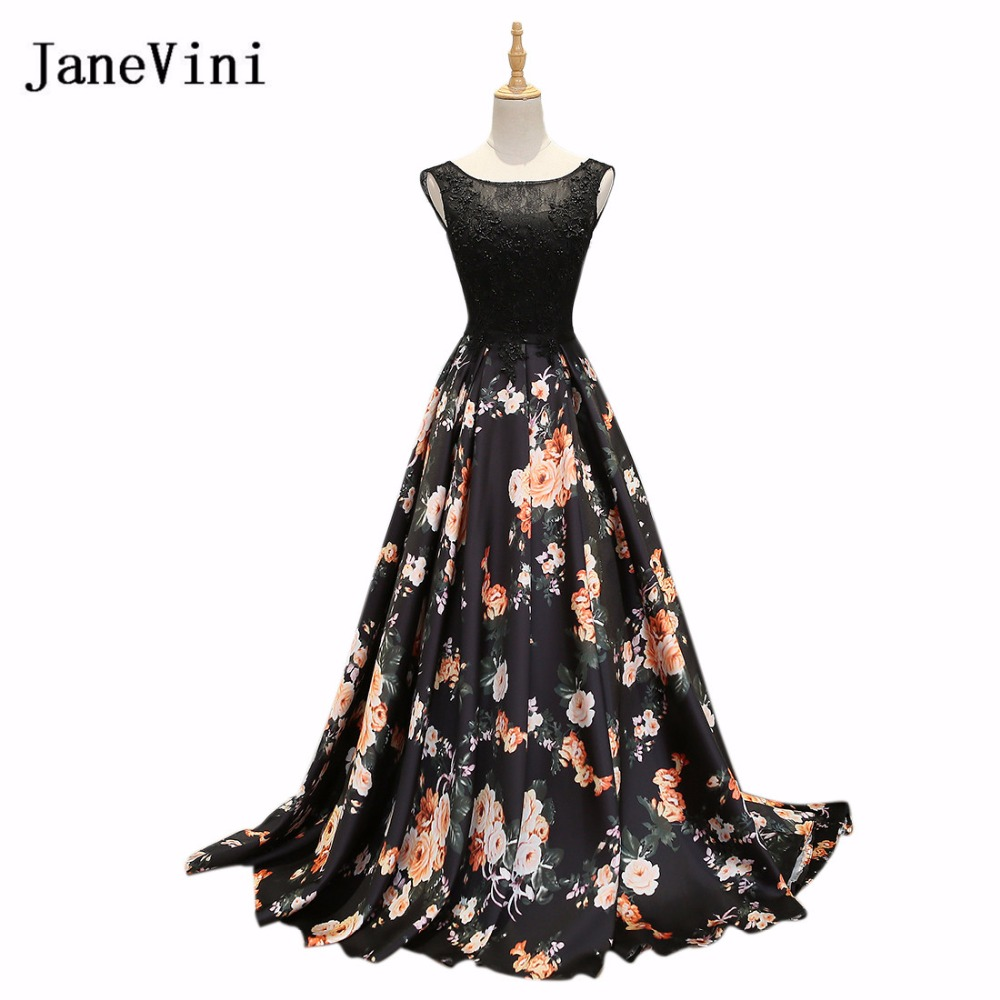 JaneVini Black Beaded Lace Floral Long Bridesmaids Dresses Satin Flowers Print Wedding Party Dress Vestidos De Fiesta Gasa 2018