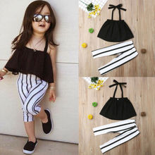 US Toddler Kid Baby Girl Clothes Black Strap Tops+Black Stripe With White Long Pants Summer Outfits Set