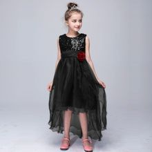 Bright red Trailing dress Girl skirt Wearing sequins wedding ring bearer Dress christmas girls dress