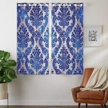 HommomH Curtains (2 Panel) Grommet Top Darkening Blackout Room Vintage Pattern Blue vintage floral pattern velveteen panel waistcoat
