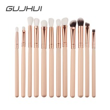 GUJHUI 12Pcs Professional Eyes Makeup Brushes Set Wood Handle Eyeshadow Eyebrow Eyeliner Blending Powder Brush Tool