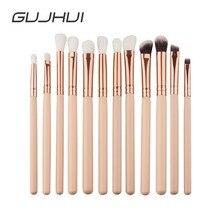 GUJHUI 12Pcs Professional Eyes Makeup Brushes Set Wood Handle Eyeshadow Eyebrow Eyeliner Blending Powder Brush Makeup Tool