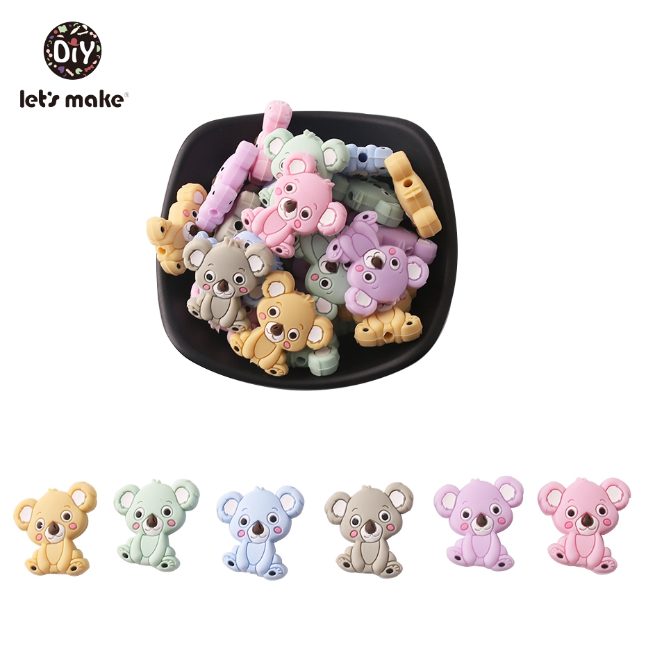Faisons 20 pièces Silicone Koala Mini Perles De Qualité Alimentaire Bébé Cadeaux bricolage Chaîne Sécurité Combinaisons SANS BPA Bébé Dentition (lot de 20)
