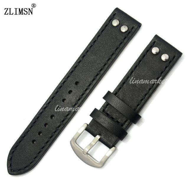 ZLIMSN 20mm 100% Cuero Genuino correas de Reloj correas de Reloj Negro Marrón Verde Amarillo Correa Gruesa de Acero Inoxidable