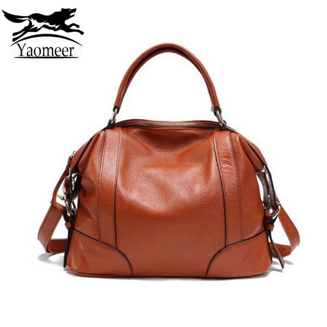 100 Genuine Leather Bags Female Luxury Handbags Italian Cow Women Designer Soft Brown Las
