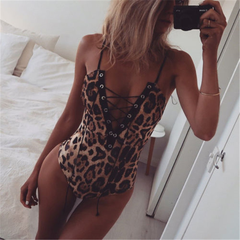 New 2020 Sexy Swimwear Women Lady Bikini Slim Bodysuit Leopard Print Push Up Bathing Suit Bandage One Piece Swimsuit Beachwear