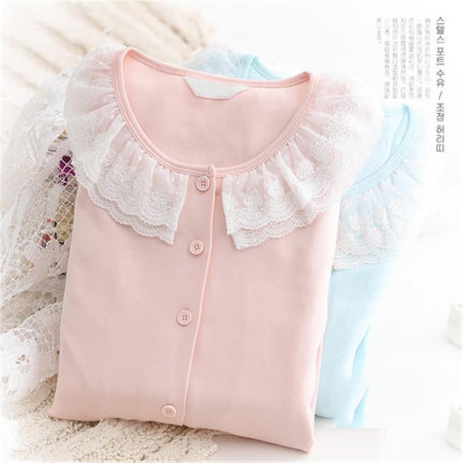 цена на Maternity Breastfeeding Clothes Cotton Sleepwear Nursing Pajamas Suit Pregnanci Long Sleeve For Pregnant Women Clothes 70M0218