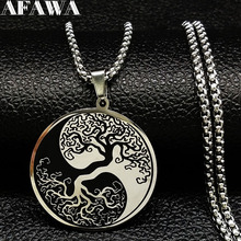 2019 Tree of Life Enamel Stainless Steel Chain Necklaces for Men Ying Yang Silver Color Necklace Jewelry colgante hombre N18201