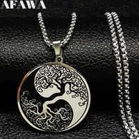 Collares de cadena de acero inoxidable con esmalte de árbol de la vida 2019 para hombres Ying Yang Collar de plata con collar de joyería para hombre N18201